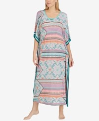 Ellen Tracy Printed Striped Side Caftan Coral Multi