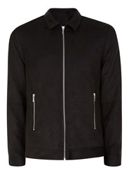 Topman Black Faux Suede Formal Coach Jacket