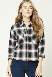Forever 21 Boxy Flannel Plaid Shirt Cream Navy