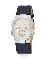 Philip Stein Teslar Classic Stainless Steel Chronograph Embossed Leather Strap Watch Navy