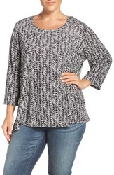 Sejour Plus Size Women's Print Three Quarter Sleeve Tee