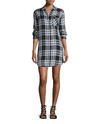 Rails Sawyer Plaid Long Sleeve Shirtdress Ebony White White Ebony