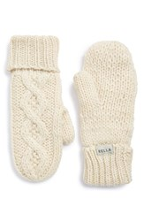Women's Rella 'Betto' Cable Knit Mittens Beige Natural