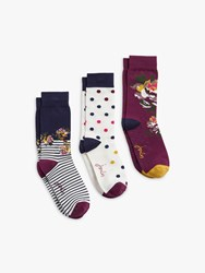 Joules Brill Bamboo Flower And Spot Print Ankle Socks Pack Of 3 Multi