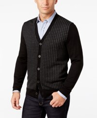 Club Room Men's Italian Yarn Houndstooth Cardigan Classic Fit Deep Black