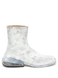 Maison Martin Margiela Tabi Painted Split Toe Leather Ankle Boots White Multi