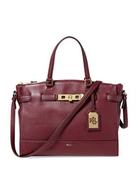 Lauren Ralph Lauren Darwin Tumbled Leather Satchel Claret