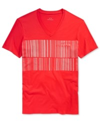 Armani Exchange Men's Barcode Graphic Print Logo V Neck T Shirt Red