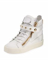 Giuseppe Zanotti May Metallic Lace Up High Top Sneaker Birel Bian