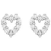 Ibb 9Ct White Gold Small Heart Stud Earrings White Gold