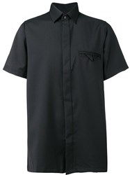 Matthew Miller Fitted Short Sleeve Shirt W.Hidden Butto Black