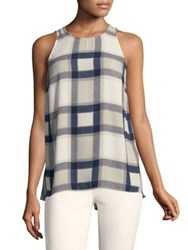 Jones New York Sleeveless Windowpane Plaid Tank Stone