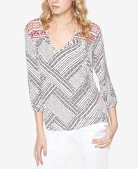 Sanctuary Anabella Printed Peasant Top Light Dune Black