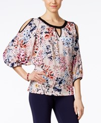 Eci Printed Cold Shoulder Blouse Tan Pink Floral