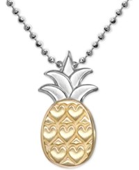 Alex Woo Pineapple 16 Pendant Necklace In Sterling Silver And 18K Gold