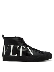 Valentino Logo Leather High Top Trainers Black