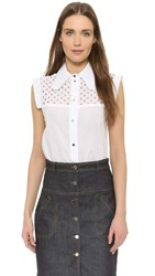 Carven Eyelet Yoke Blouse White