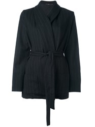 Odeeh Pinstripe Fitted Jacket Black