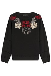 Alexander Mcqueen Embroidered Cotton Sweatshirt Black