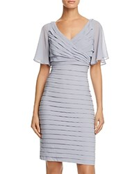 Adrianna Papell Flutter Sleeve Pleated Dress Silver Blue