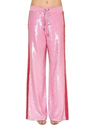 Alberta Ferretti Two Tone Sequined Track Pants Pink Red