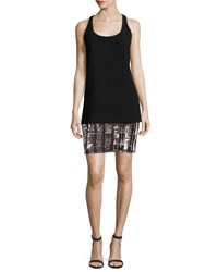 Carmen Marc Valvo Sleeveless Crepe And Jersey Tank Dress Black
