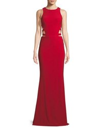 Faviana Sleeveless Gown W Side Cutouts Red