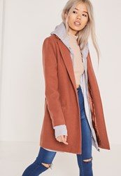 Missguided Short Tailored Faux Wool Coat Brown Clay