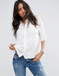 Asos Boxy Blouse In Crinkle Ivory White
