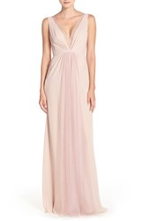 Monique Lhuillier Bridesmaids Women's Deep V Neck Chiffon And Tulle Gown Shell