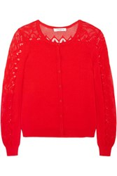 Sandro Pointelle Paneled Stretch Knit Cardigan Red