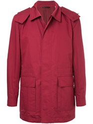 Gieves And Hawkes Zip Up Coat Silk Cotton Xl Red