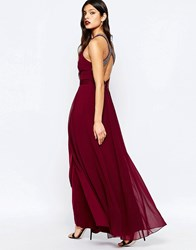 Warehouse Embellished Cross Back Maxi Dress Red