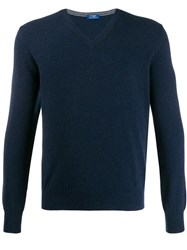 Barba V Neck Jumper Blue