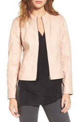 Halogenr Women's Halogen Raw Edge Pieced Leather Jacket Pink Peach