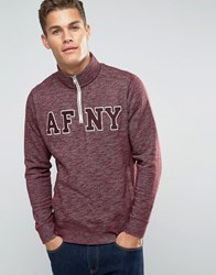 Abercrombie And Fitch Half Zip Sweatshirt With Afny Logo In Red Burgundy