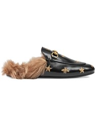 Gucci Princetown Embroidered Leather Slipper Leather Lama Fur Metal Black