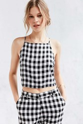 Native Youth Brushed Gingham Tank Top Black And White