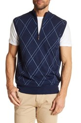 Peter Millar Cashmere Blend Double Raker Quarter Zip Vest Multi
