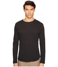 Vince Raw Hem Long Sleeve Linen Blend Crew Neck T Shirt Black Men's T Shirt