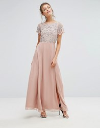 Frock And Frill Sequin Bodice Maxi Dress With Flutter Sleeve Pink