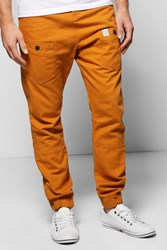 Boohoo Cuffed Utility Chino Trousers Camel