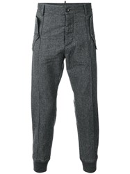 Dsquared2 Flannel Joggers Cotton Spandex Elastane Wool Grey