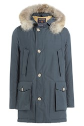 Woolrich Arctic Df Down Parka With Fur Collar Blue