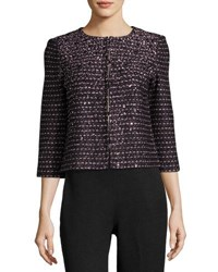 St. John Gable Sequin Embellished Jacket Black Pink
