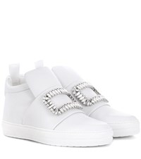 Roger Vivier Sneaky Viv Embellished High Top Leather Sneakers White