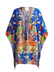 Camilla Playing Koi Print Silk Kaftan Blue Print