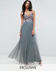 Needle And Thread Whisper Embroidered Tulle Maxi Dress Green