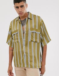 Heart And Dagger Oversized Striped Shirt In Green