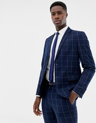 Only And Sons Slim Checked Suit Jacket Dark Navy